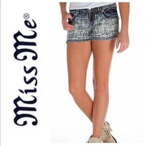 Miss Me ~ Aztec Print Frayed Stretch Shorts